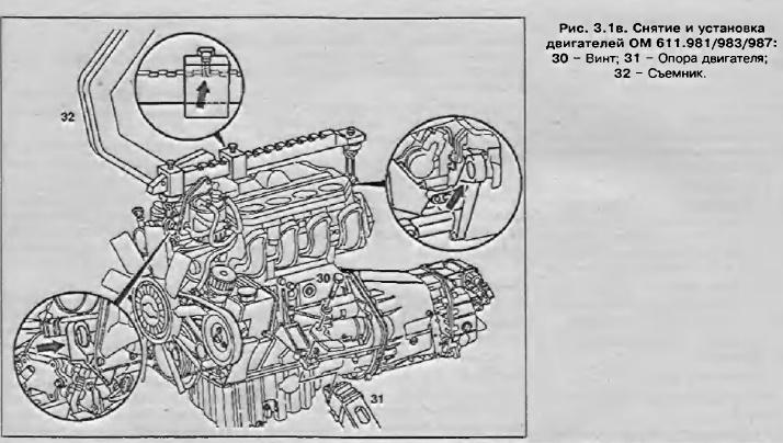Снятие и установка дизельного двигателя ОМ 611 Спринтер