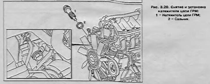 Снятие установка натяжителя цепи ГРМ Mercedes Sprinter